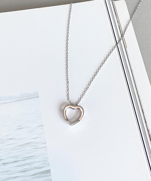 simple heart necklace (silver 92.5)